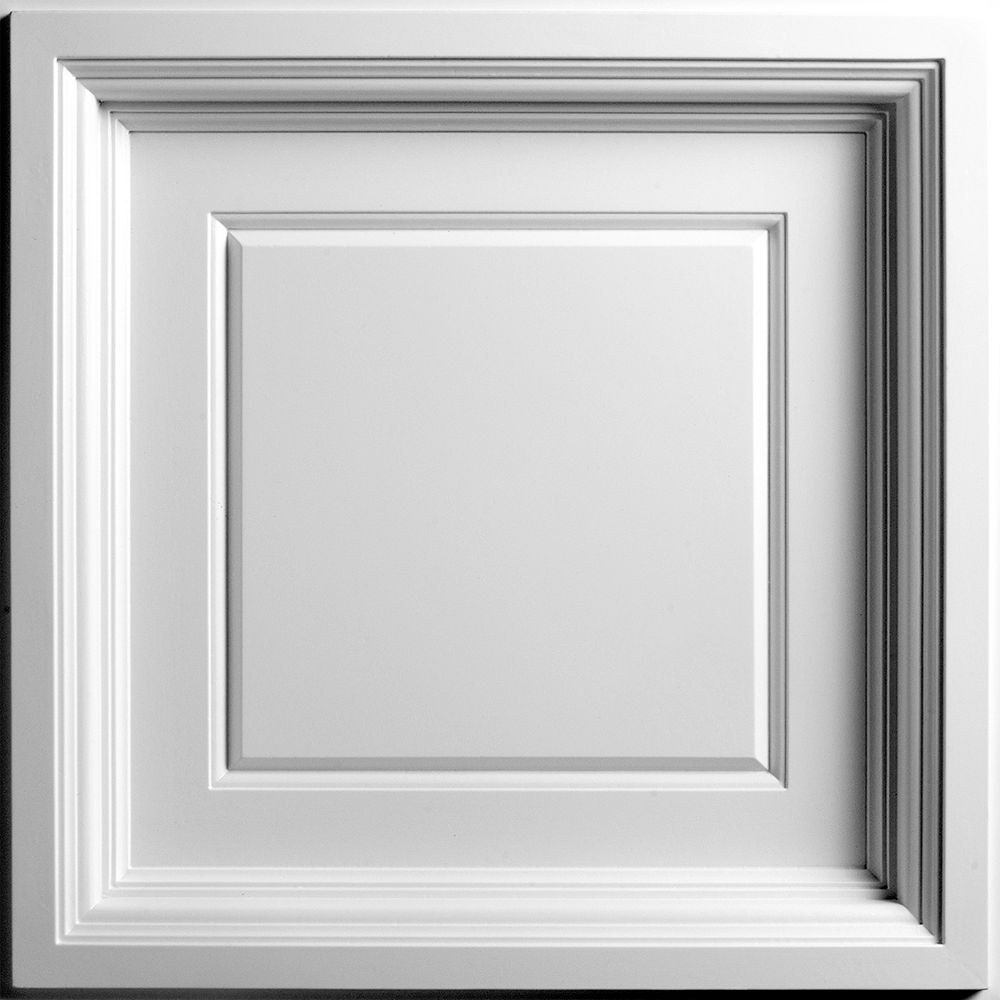 Ceilume Madison 2 ft. x 2 ft. Lay-in Coffered White Ceiling Tile