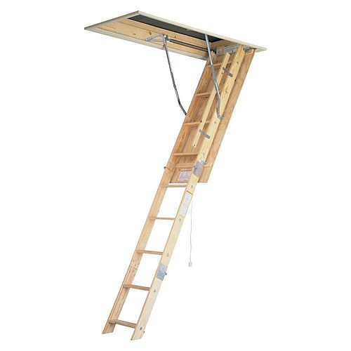 Wood Attic Ladder (250 lb. Load Capacity) - 8 Feet 9 Inches 22.5 Inch x 54 Inches