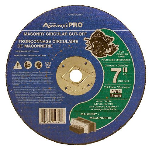 7-inch x 1/8-inch x 5/8-inch Circular Saw Cut Off Wheel/Disc/Blade for Masonry Cutting
