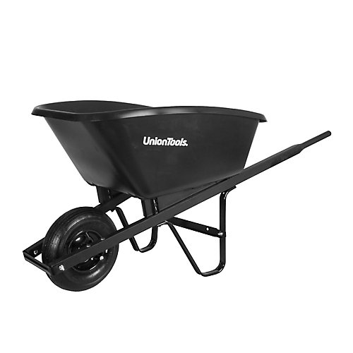 Wheelbarrow, 5 cu. ft. poly tray, wood handles, Union Tool