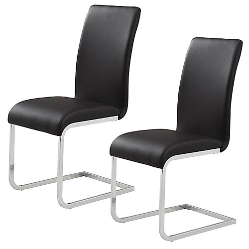 Maxim Metal Chrome Parson Armless Dining Chair with White Faux Leather Seat - (Set of 2)