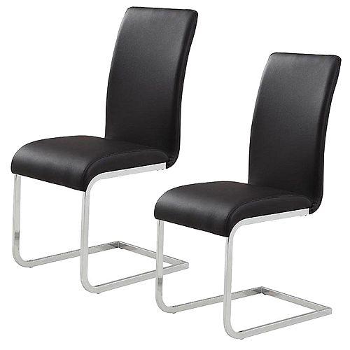 Chaise Parson sans accoudoirs Maxim, métal chromé, siège similicuir blanc, ens. de 2