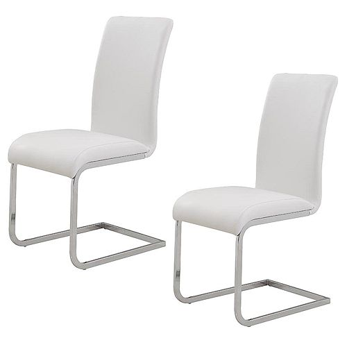 Maxim Metal Chrome Parson Armless Dining Chair with Black Faux Leather Seat (Set of 2)
