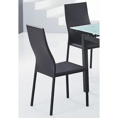 Versa Metal Black Cross Back Armless Dining Chair with Black Faux Leather Seat - (Set of 4)