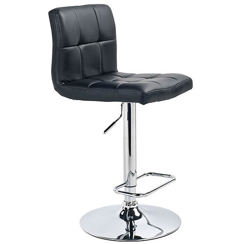 Max Leather Metal Chrome Backless Armless Bar Stool with Black Faux Leather Seat (Set of 2)