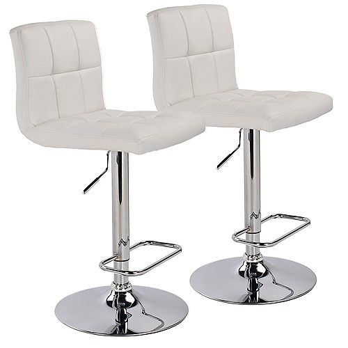 Max Leather Metal Chrome Backless Armless Bar Stool with White Faux Leather Seat - (Set of 2)