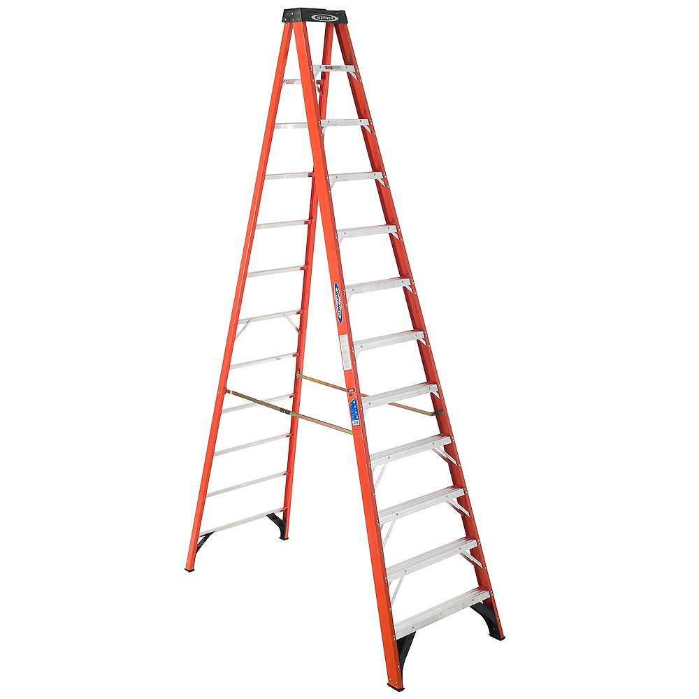 Werner fibreglass Stepladder Grade 1A (300 lb. Load Capacity) - 12 Feet
