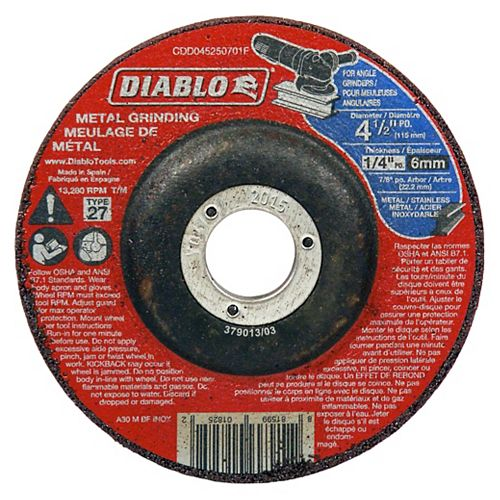 4 1/2-inch x 1/4-inch x 7/8-inch Type 27 Grinder Wheel/Disc for Metal Grinding