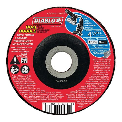 4 1/2-inch x 1/8-inch x 7/8-inch Type 27 Cut Off Grinder Wheel/Disc for Metal Cutting/Grinding