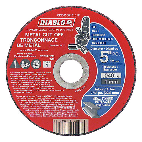 5 x .040 in. Cut Off Disc for Metal Type 1