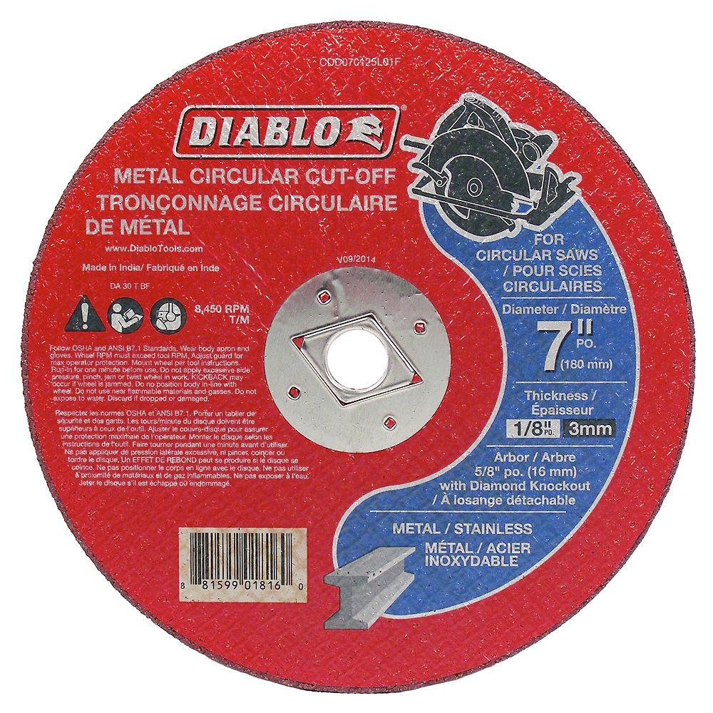 Diablo 7-inch x 1/8-inch x 5/8-inch Circular Saw Cut Off Wheel/Disc/Blade for Metal Cutting