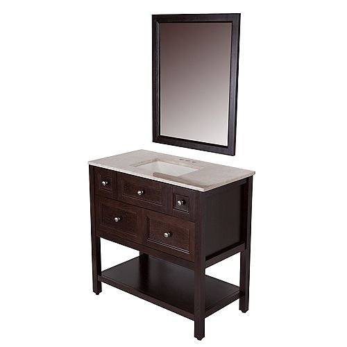 Ashland 36-1/2-inch W Vanity in Chocolate with Stone Effects Vanity Top in Baja Travertine and Wall Mirror