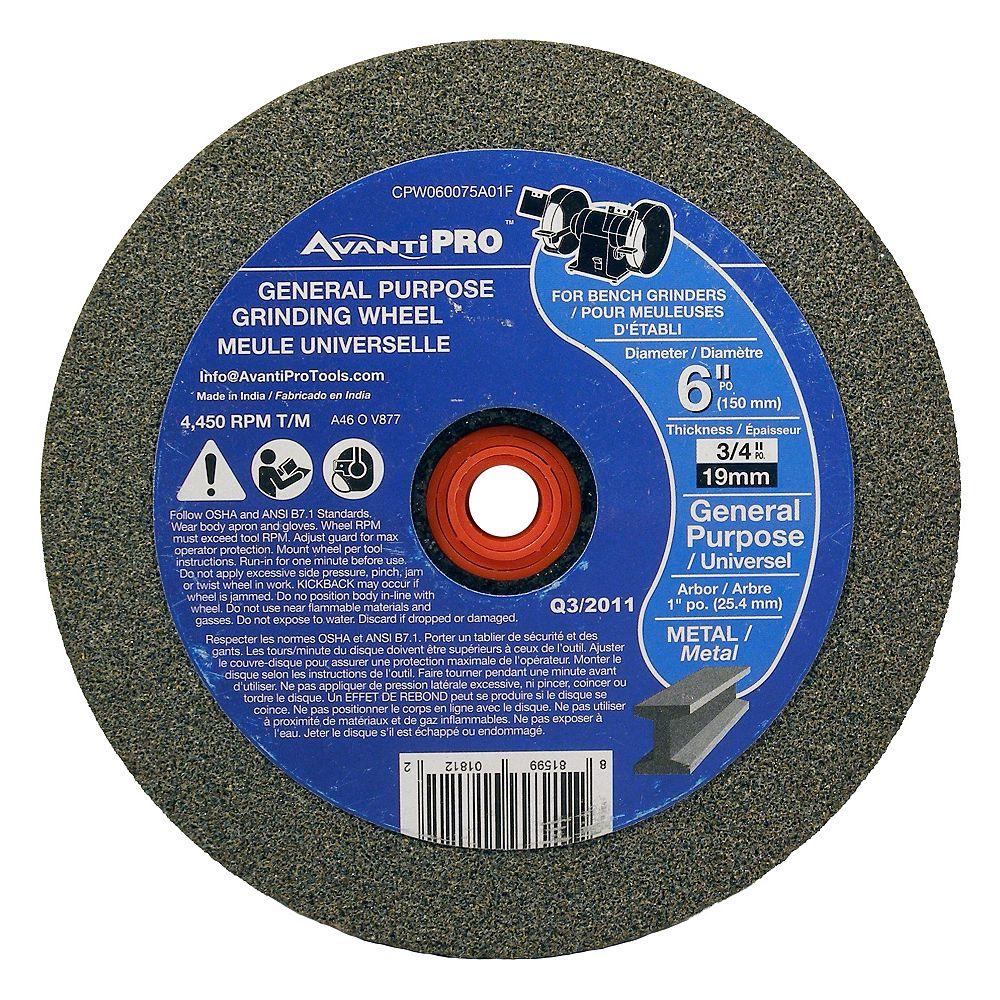 Avanti Pro Gen. Purpose Bench Grinding Wheel 6 x 3/4 x 1 in.