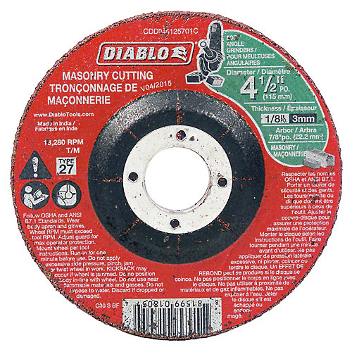 4-1/2 x 1/8 in. Masonry DC Cut-Off Disc Type 27