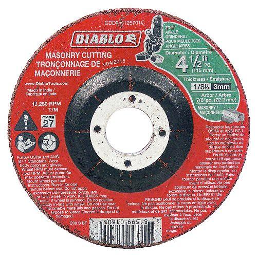 4 1/2-inch x 1/8-inch x 7/8-inch Type 27 Cut Off Grinder Wheel/Disc for Masonry Cutting