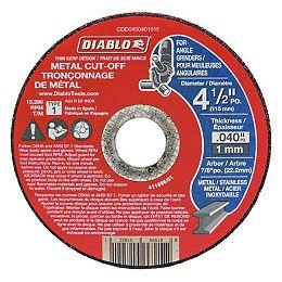 Disque de meuleuse à tronçonner de type 1 de 4 1/2 po x 0,040 po x 7/8 po pour la coupe du métal