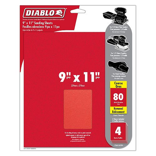 Diablo 9-inch x 11-inch Coarse Finish 80 Grit Sand Paper Sheet for Wood/Metal/Plastic Sanding (4 Pack)