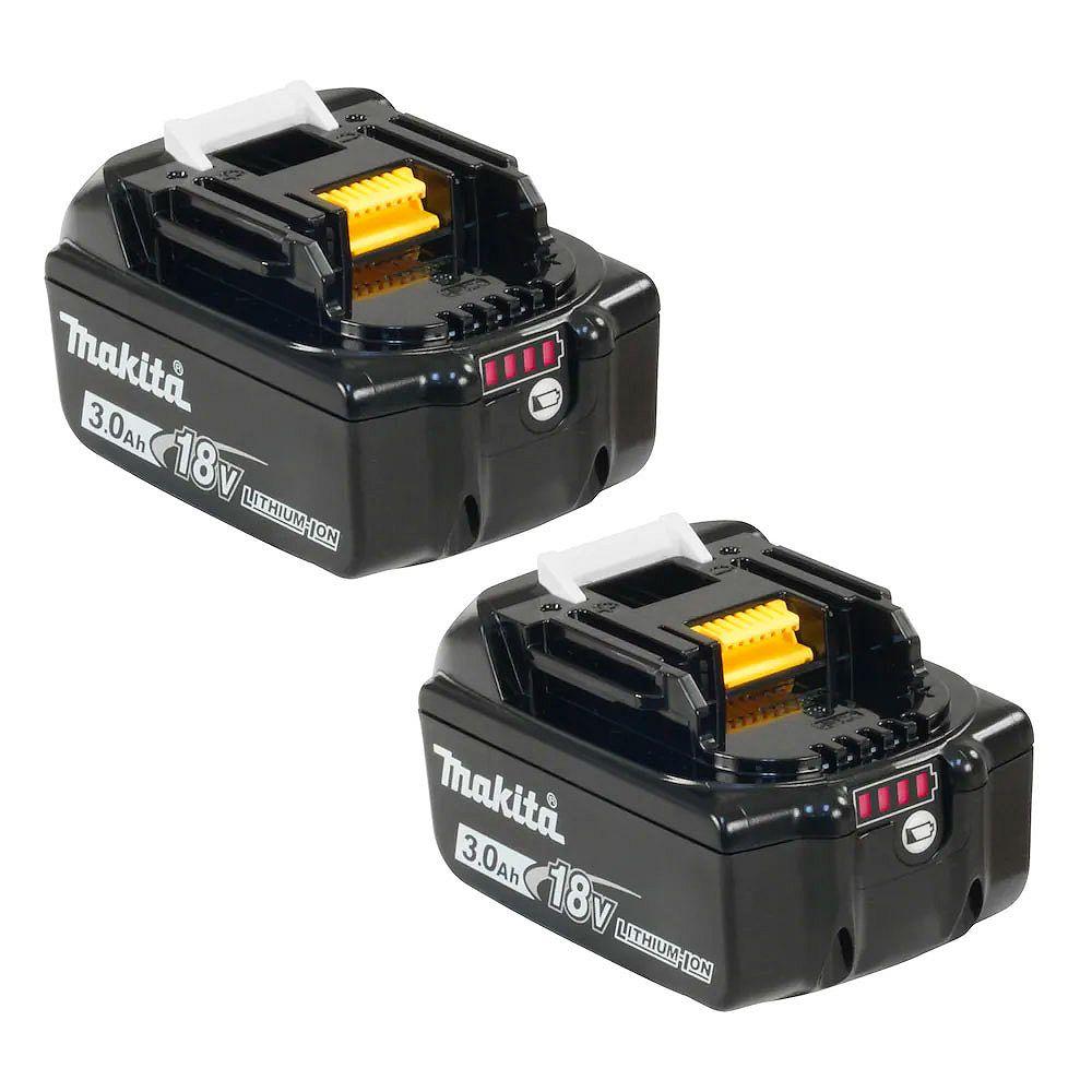 MAKITA Batterie au Li-ion, 18 V, 3 A, ens. de 2