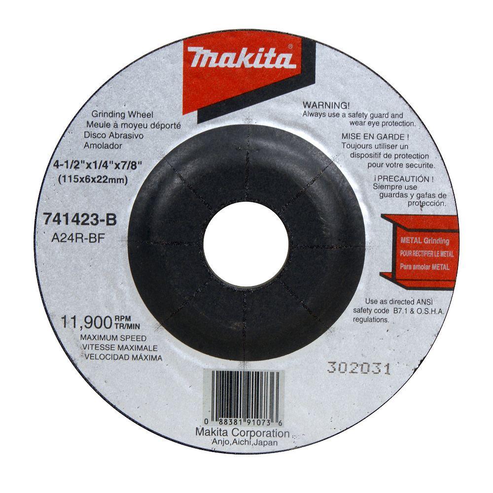 """MAKITA 4 1/2"""" x 1/4"""" x 7/8"""" Depressed Center Grinding Wheel (24Grit) (for BGA452Z)"""