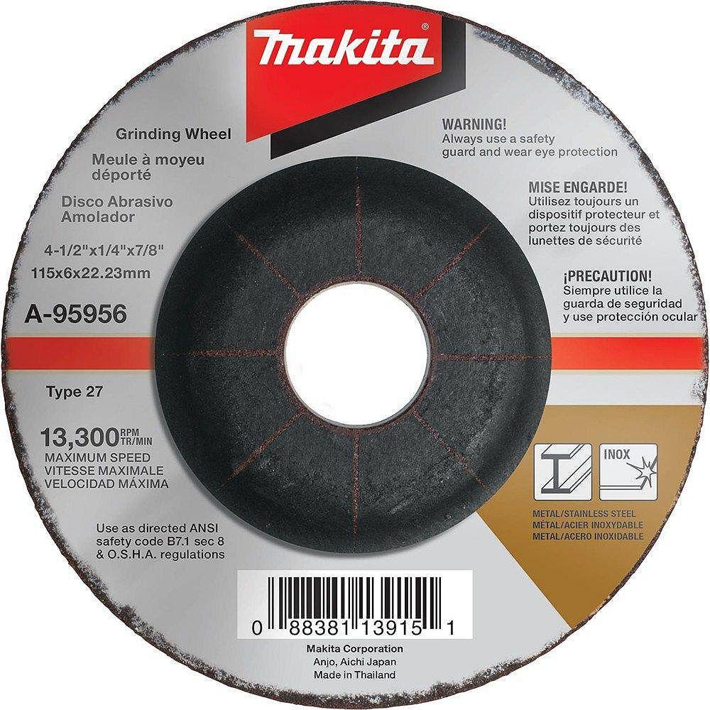 "MAKITA 4-1/2"" x 1/4"" x 7/8"" Depressed Center Grinding Wheel (36Grit)"
