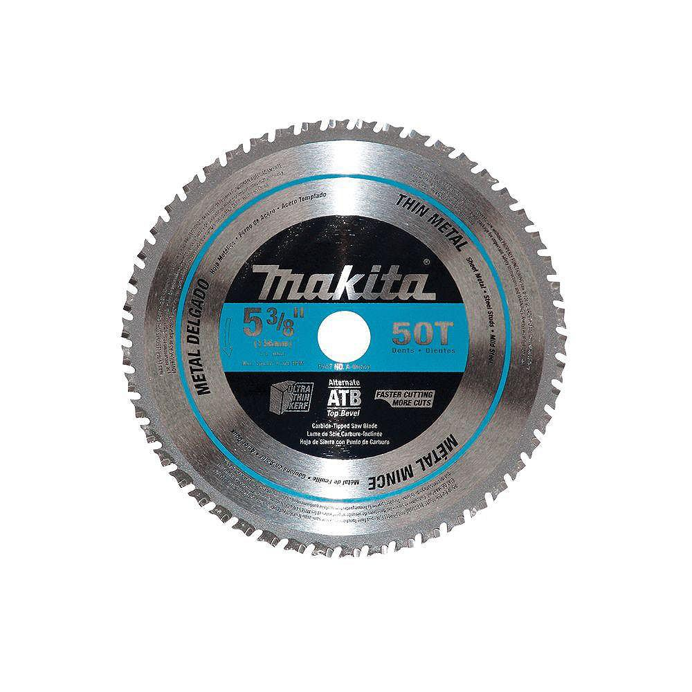 MAKITA Lame carbure de scie circulaire 5-3/8 po 50 dents - Métaux minces et acier doux