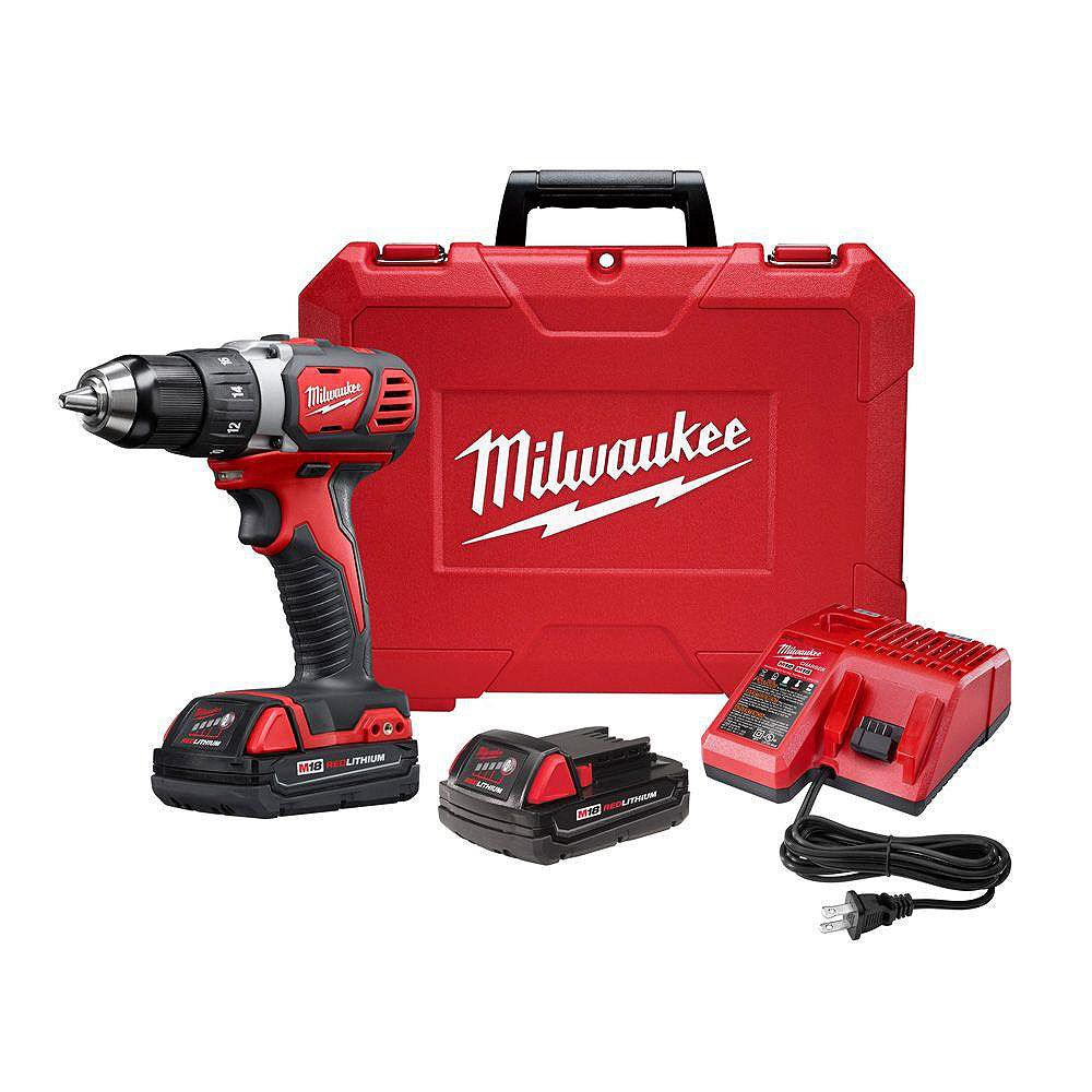 Milwaukee Tool M18 18V Lithium-Ion Cordless 1/2-inch Drill Driver Kit with (2) 1.5Ah Batteries and Hard Case