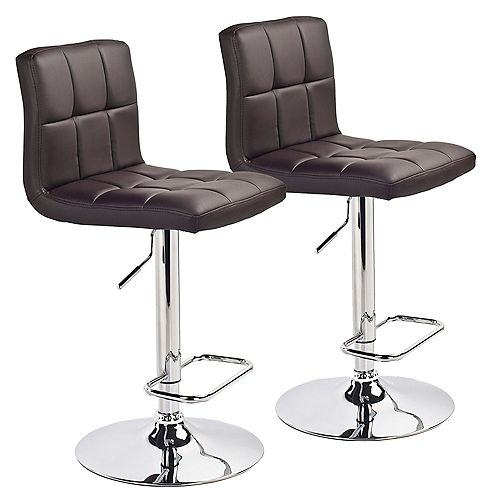 Max Leather Metal Chrome Backless Armless Bar Stool with Brown Faux Leather Seat (Set of 2)