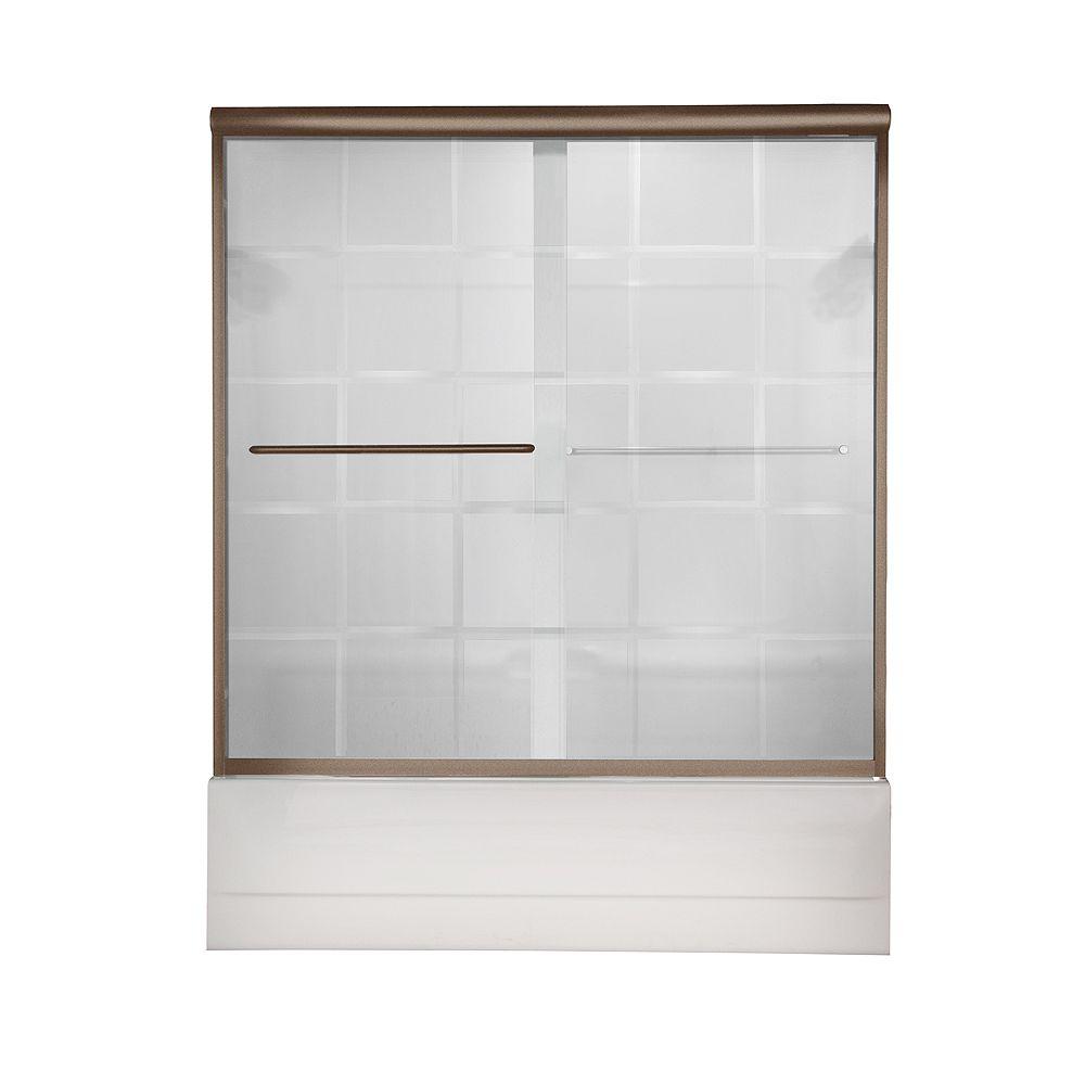 American Standard Porte de bain Euro 60 pouces L x 57 pouces H sans cadre en nickel brossé avec verre à rainure en V