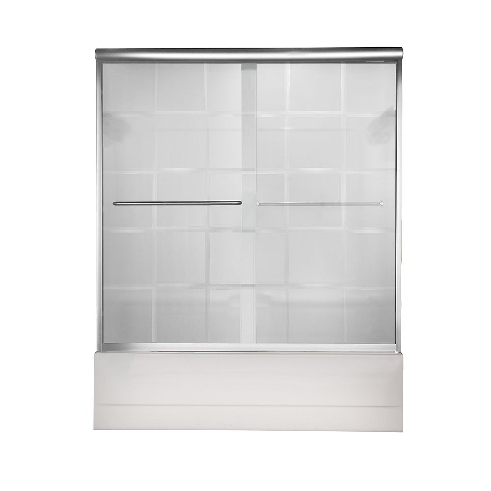 American Standard Euro 60 Inch W x 57 Inch H Frameless Bypass Bath Door in Silver Finish with V-Groove Glass