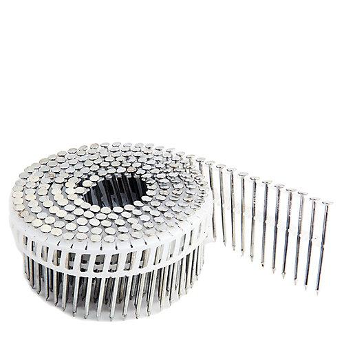 Clous en bobine galvanisés à tige lisse pour parement sur bande plastique 2po  .92po, boîte colorée de 3 600