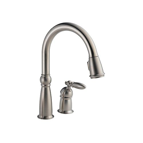 Victorian Single Handle Pull-Down Sprayer Kitchen Faucet in Stainless featuring MagnaTite Docking