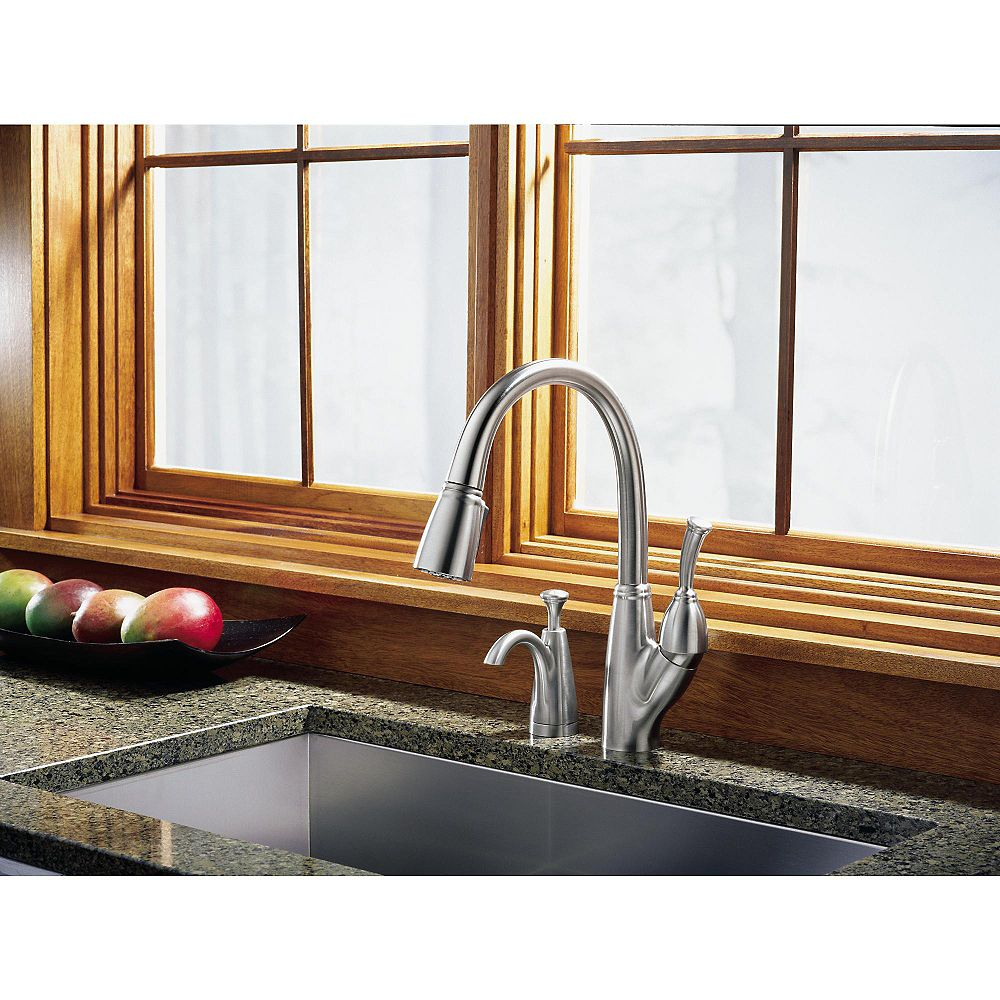 Delta Allora Single Handle Pull Down Sprayer Kitchen Faucet In Stainless With Soap Dispens The Home Depot Canada