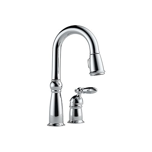 Victorian Single-Handle Pull-Down Sprayer Bar Faucet in Chrome