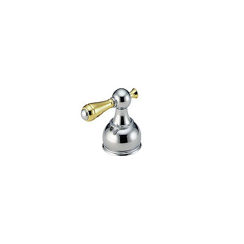 Delta Pair of Traditional Lever Handles in Chrome and Polished Brass for Roman Tub Faucets