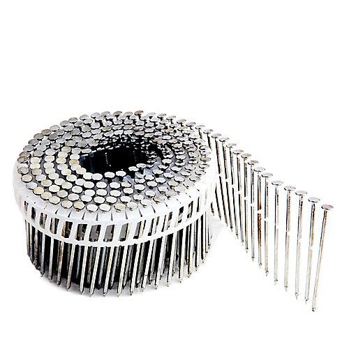 Clous en bobine galvanisés à tige lisse pour parement sur bande plastique 2 1/4 po  .92po, boîte colorée de 3 600