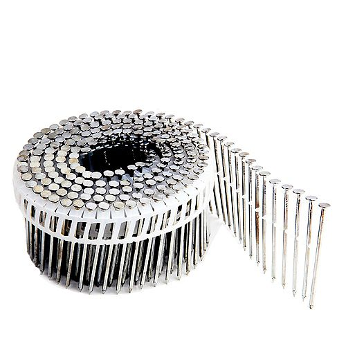 .92 Inch 2  1/4 Inch Coil Siding Nail - Plastic Collated Smooth Shank Galv 3.6K Color Box