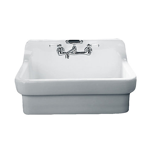 Country Vitreous China 30x22x23.87 2-Hole Single Bowl Kitchen Sink in White