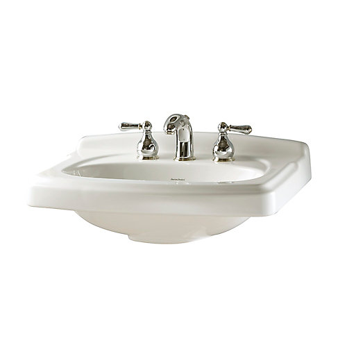 Portsmouth Pedestal/Vanity Top with 8-inch Centres in White