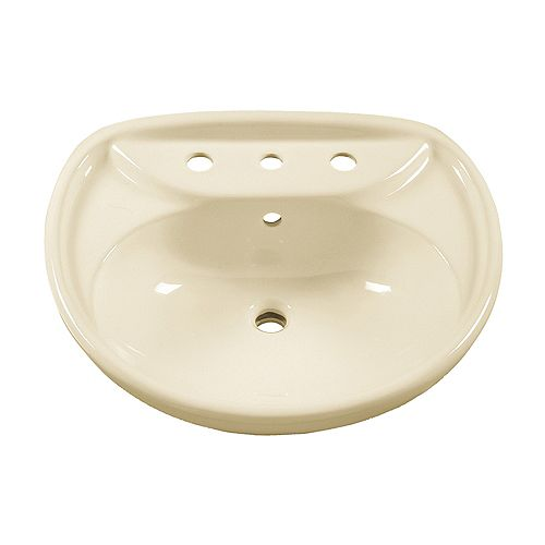 American Standard Lavabo à piédestal de 6 pouces en demi-cercle Savona en lin