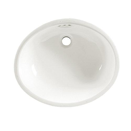 Lavabo sous le comptoir Ovalyn™ avec trop-plein à l'avant, blanc