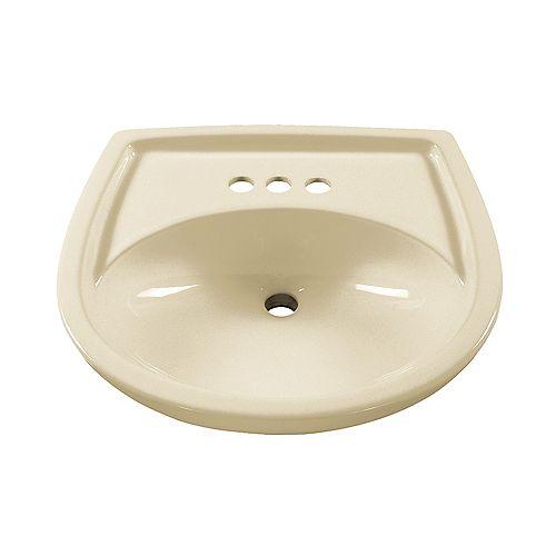 American Standard Lavabo à piédestal ovale Colony avec un espacement de 4 pouces entre les robinets en lin