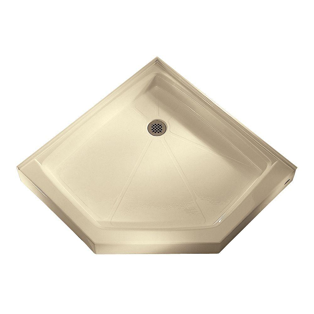 American Standard Base de douche à néo-angle, rétention d'eau intégrale et bride de carrelage, renvoi de douche, de couleur os