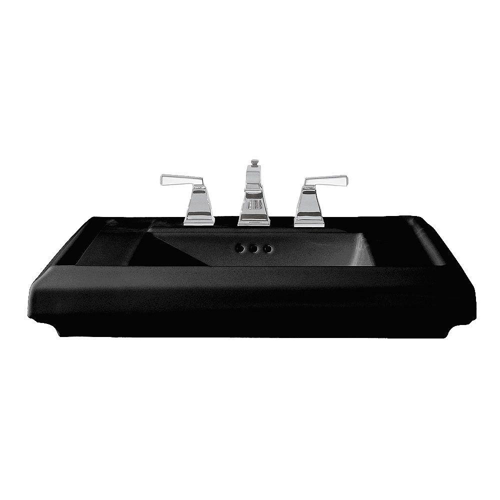 American Standard Lavabo sur pied rectangulaire de 27 pouces pour salle de bain en noir
