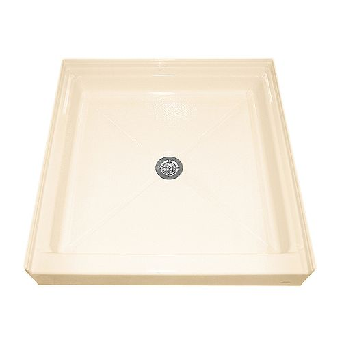 American Standard Base de douche à seuil unique, rétention d'eau intégrale et bride de carrelage, douche, de couleur os