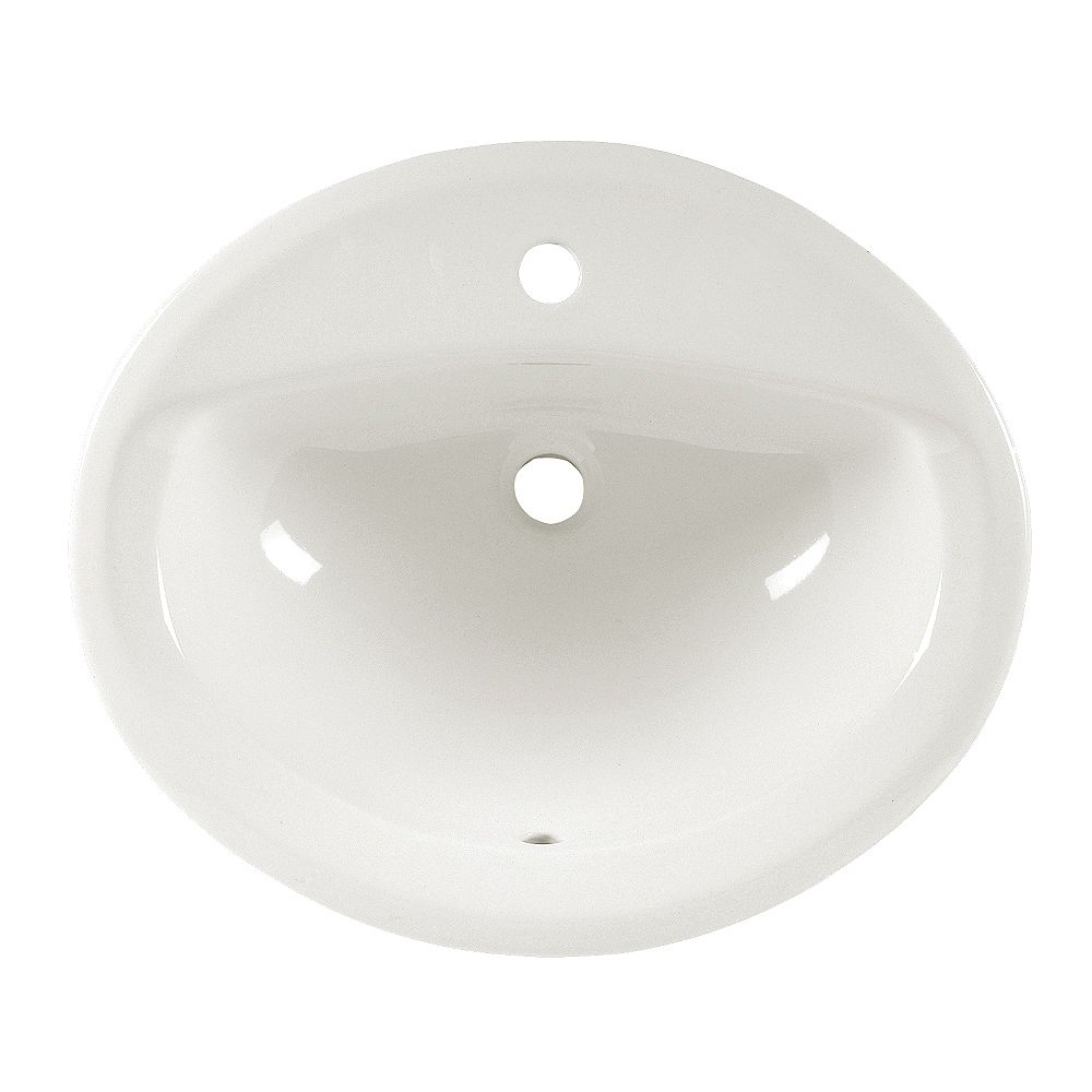 American Standard Aqualyn Oval Self-Rimming Drop-In Single Hole Bathroom Sink in White