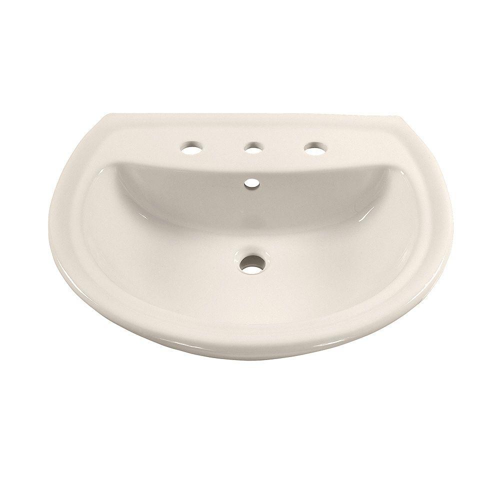 American Standard Salle de bain des cadets - lavabo sur pied en demi-cercle avec trous de robinetterie de 8 pouces dans le linge