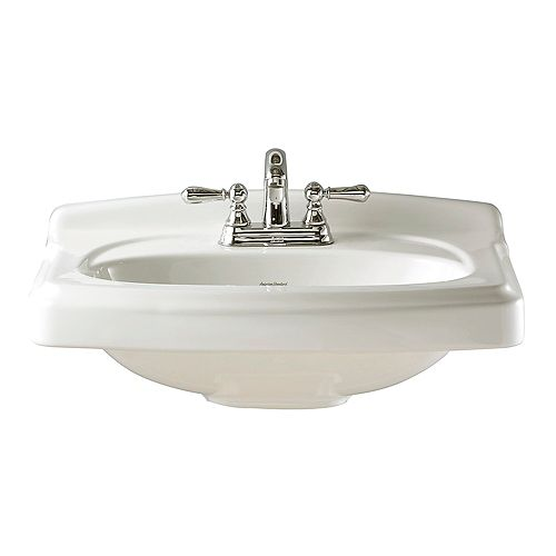 American Standard Portsmouth Rectangular 10-inch Pedestal Sink Basin in White