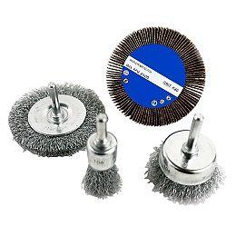 Brosse/roue de foret de main réglées pour l'enlèvement de rouille en bois/métal (4 morceaux)