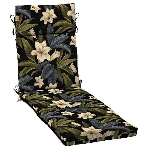 Chaise cushions with Black Tropical Blossom