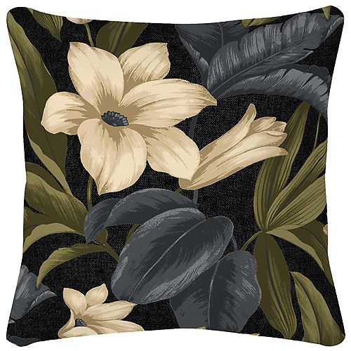16 inch outdoor pillow with Black Tropical Blossom
